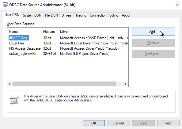 Example: Create an ODBC Data Source with Windows