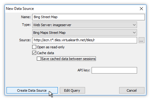 Example: Create a New Data Source from a Manifold Image Server