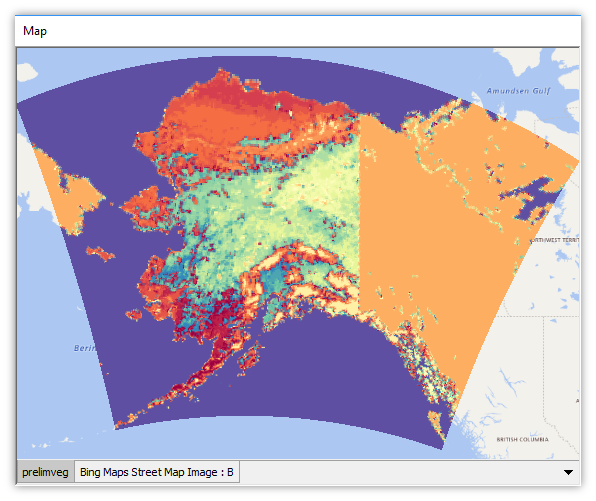 Alaskan vegetation types in an ESRI BIL raster.