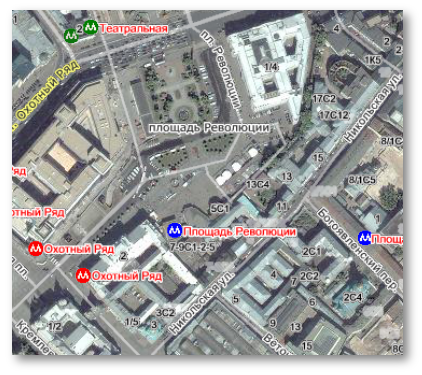 Yandex combined street and satellite map view